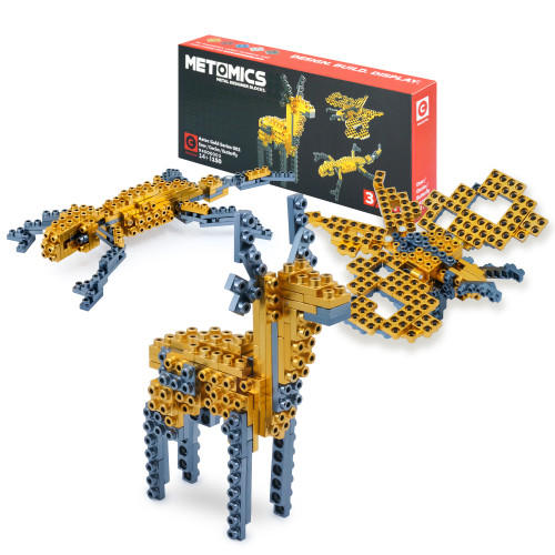 Deer, Gecko, Butterfly: 3 in 1 - Aztec Gold - Metal Designer Building Blocks | 150pcs | Metomics