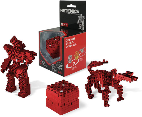 Mind³ - Ruby Red - Metal Designer Building Blocks | 69pcs | Metomics