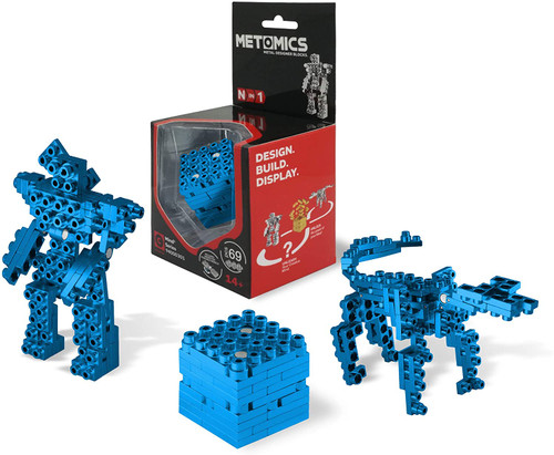Mind³ - Azure Blue - Metal Designer Building Blocks | 69pcs | Metomics