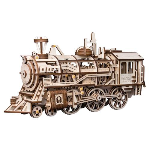 Locomotive Spring Powered Mechanical Wooden Model | Rokr