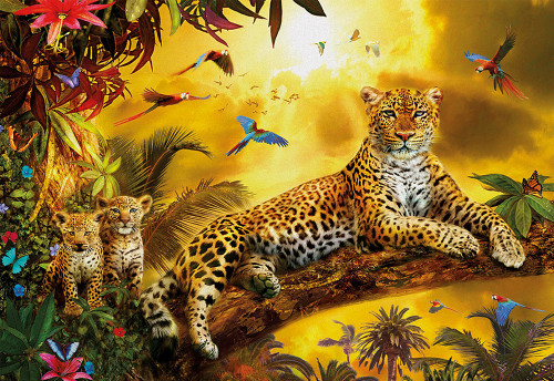 Leopard with Cubs 500 Piece Jigsaw Puzzle | Educa