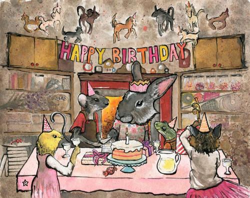 Happy Birthday, Bunny Rabbit 140 Piece *Geometric Cut* Wooden Jigsaw Puzzle | Bewilderness