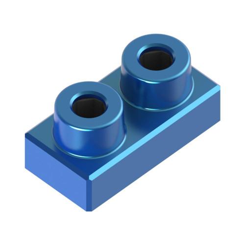 1x2 Plate Azure Blue *Quantity 60* Metal Designer Building Blocks | Metomics