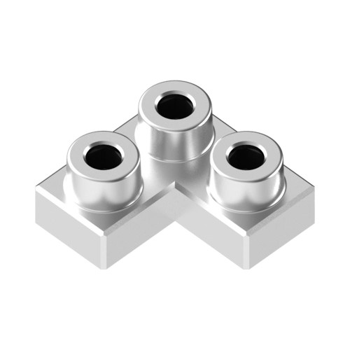 2x2 Corner Space Silver *Quantity 55* Metal Designer Building Blocks | Metomics