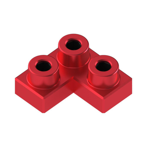 2x2 Corner Ruby Red *Quantity 55* Metal Designer Building Blocks | Metomics