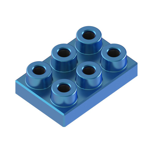 2x3 Plate Azure Blue *Quantity 40* Metal Designer Building Blocks | Metomics