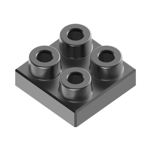 2x2 Plate Charcoal Black *Quantity 50* Metal Designer Building Blocks | Metomics