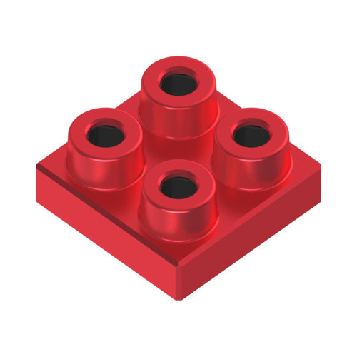 2x2 Plate Ruby Red *Quantity 50* Metal Designer Building Blocks | Metomics