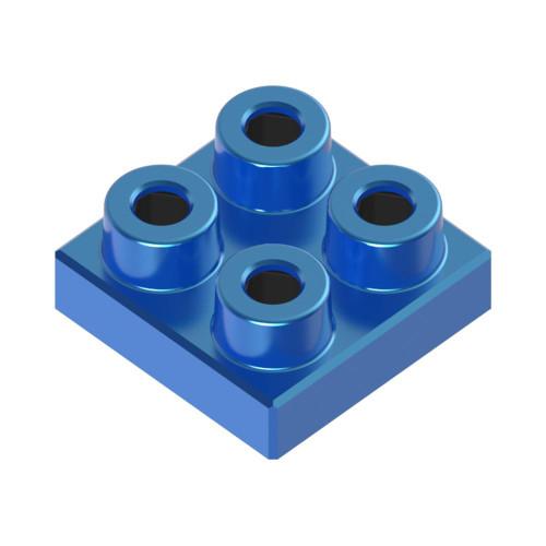 2x2 Plate Azure Blue *Quantity 50* Metal Designer Building Blocks | Metomics