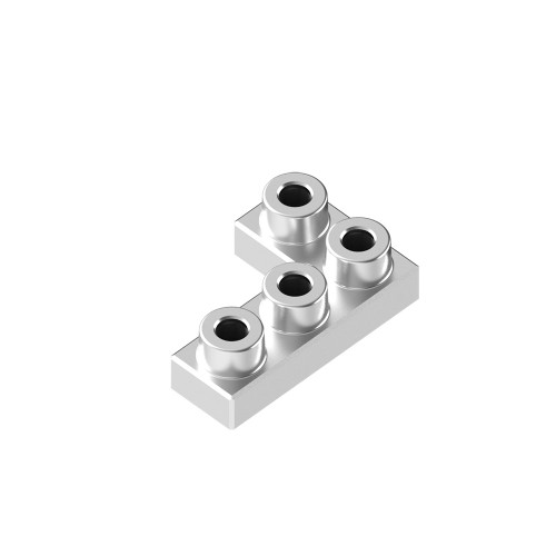 2x3 Corner Space Silver *Quantity 50* Metal Designer Building Blocks | Metomics