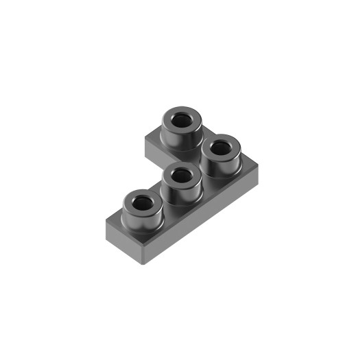 2x3 Corner Charcoal Black *Quantity 50* Metal Designer Building Blocks | Metomics