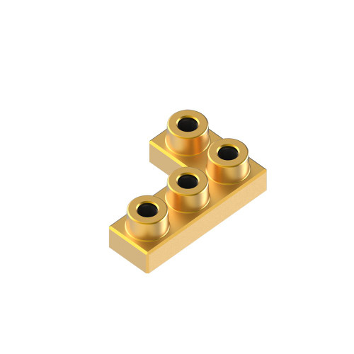 2x3 Corner Aztec Gold *Quantity 50* Metal Designer Building Blocks | Metomics