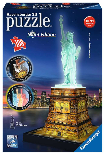 Statue of Liberty at Night, 216 Piece *3D Jigsaw Puzzle* | Ravensburger