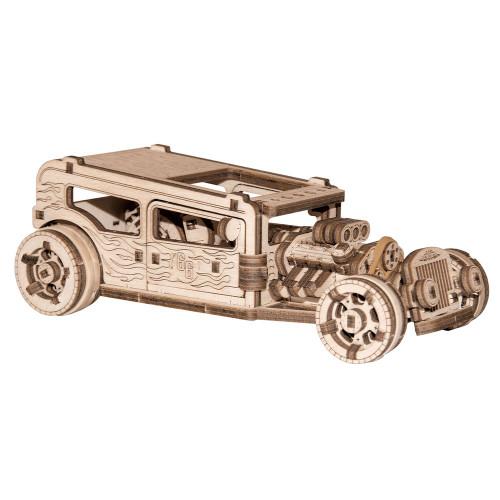 Hot Rod Car Mechanical Wooden Model Kit   Wooden City