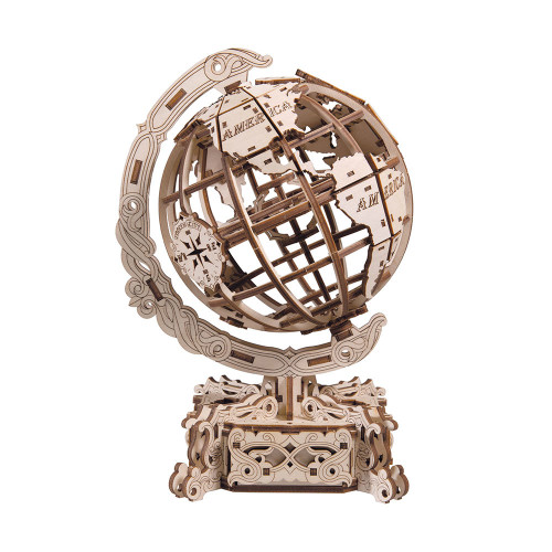 World Globe Mechanical Wooden Model Kit | Wooden City