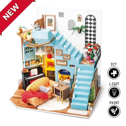 Joy's Peninsula Living Room *Build-Your-Own* Dollhouse Kit | Rolife