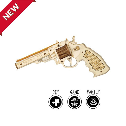 Corsac M60 Rubber Band Revolver Gun *Plus Targets* Wooden Model Kit | Rokr