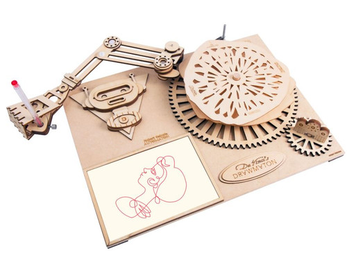 Da Vinci's Drawmaton - The Robot - Mechanical Wooden Model Kit | Robotime Rokr