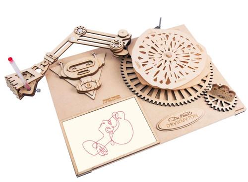 Da Vinci's Drawmaton - The Robot - Mechanical Wooden Model Kit | Robotime Rokr