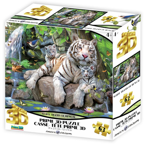 White Tigers of Bengal 63 Piece *Lenticular 3D Effect* Jigsaw Puzzle | Prime3D