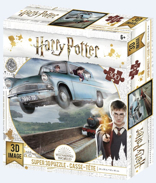 Flying Ford Anglia, Harry Potter, 300 Piece *Lenticular 3D Effect* Jigsaw Puzzle | Prime3D