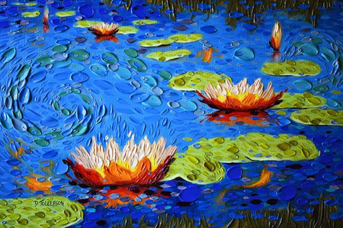Koi Pond in Blue 500 Piece Geometric Cut Wooden Jigsaw Puzzle | Whimsy Wood Puzzles