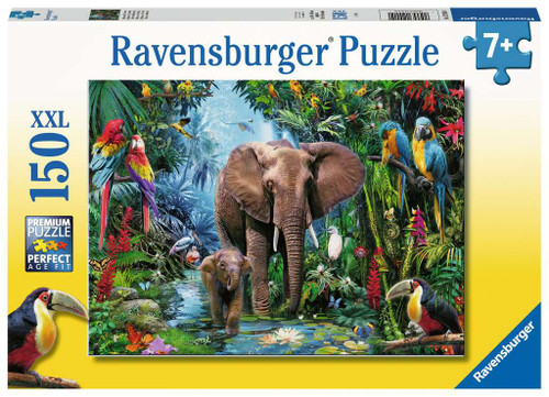 Elephants at the Oasis 150 XXL Oversized Pieces Jigsaw Puzzle | Ravensburger