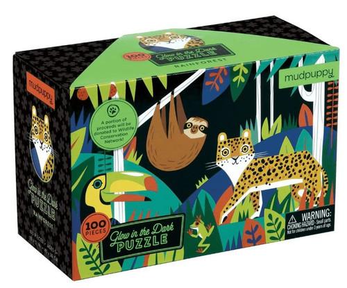 Rainforest 100 Piece *Glow in the Dark* Jigsaw Puzzle | Mudpuppy