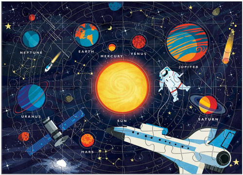Solar System 70 Piece Double Sided *Planet Shaped Pieces* Jigsaw Puzzle   Mudpuppy