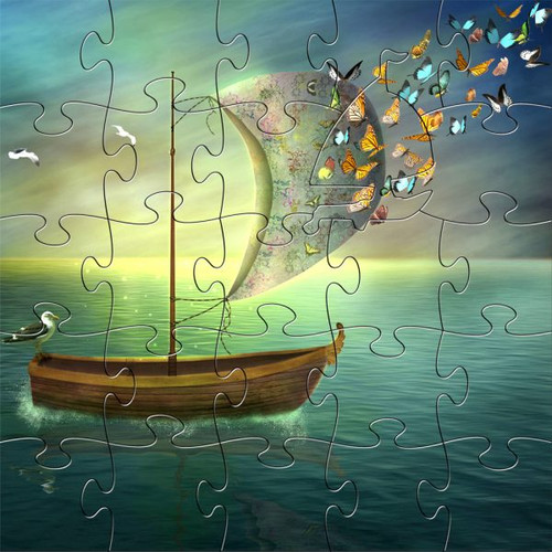 """Butterfly Dream Boat"" 25 Piece Small Children's Wooden Jigsaw Puzzle 