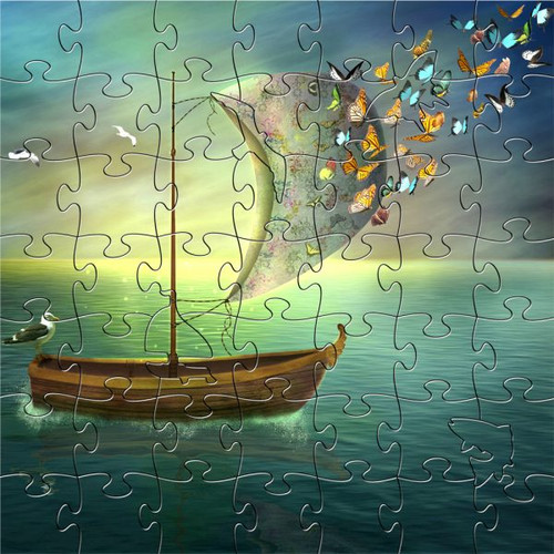 """Butterfly Dream Boat"" 53 Piece Small Children's Wooden Jigsaw Puzzle 