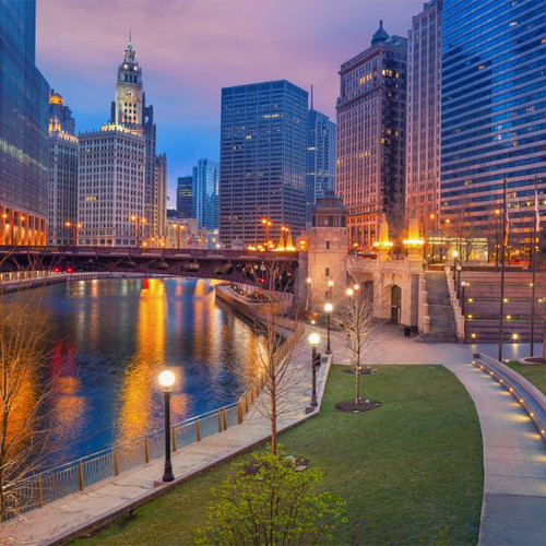 """Chicago Twilight"" 125 Piece Small Wooden Jigsaw Puzzle 
