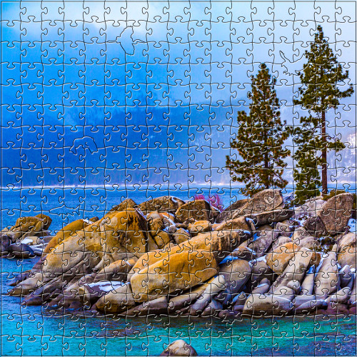 """Lake Tahoe Winter"" 125 Piece Small Wooden Jigsaw Puzzle 