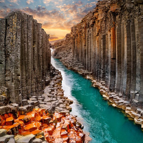 """Studlagil Canyon"" 300 Piece Large Wooden Jigsaw Puzzle | Zen Puzzles"