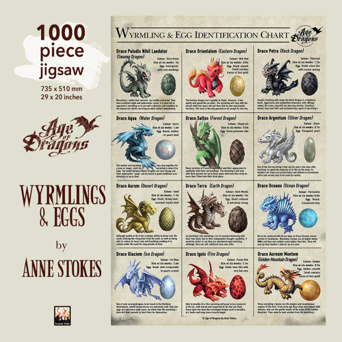 """Wyrmlings & Eggs"" Anne Stokes 1000 Piece Jigsaw Puzzle 