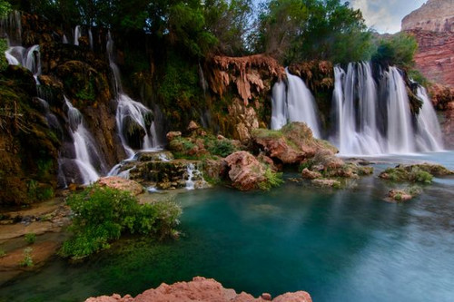 """New Navajo Falls in Havasupai AZ"" 500 Piece *Wild Cut* Wooden Jigsaw Puzzle 