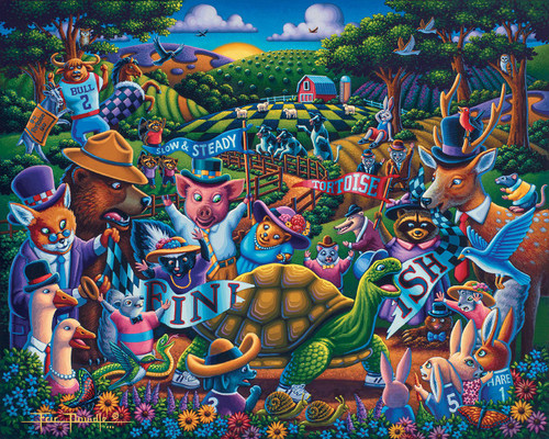 """""""Tortoise and the Hare"""" 500 Piece Jigsaw Puzzle 