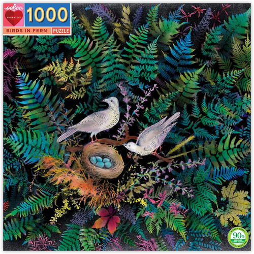 """Birds in Fern"" 1000 Piece Jigsaw Puzzle | eeBoo"