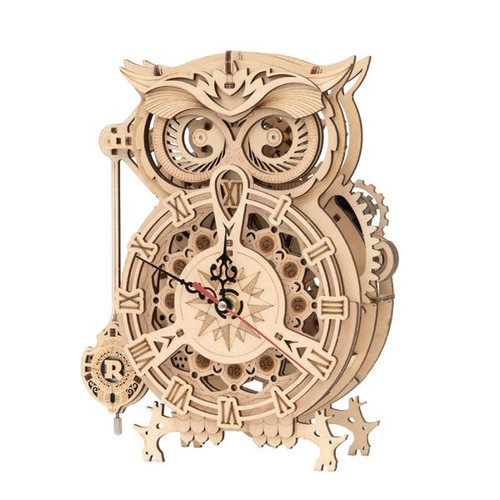 """Owl Clock"" Battery Powered Mechanical Wooden Model Kit 