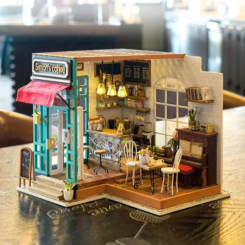 """Simon's Coffee"" Cafe *Build-Your-Own* Dollhouse Kit | Rolife"