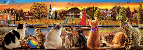"""Cats on the Quay"" 1000 Piece *Panorama* Jigsaw Puzzle 