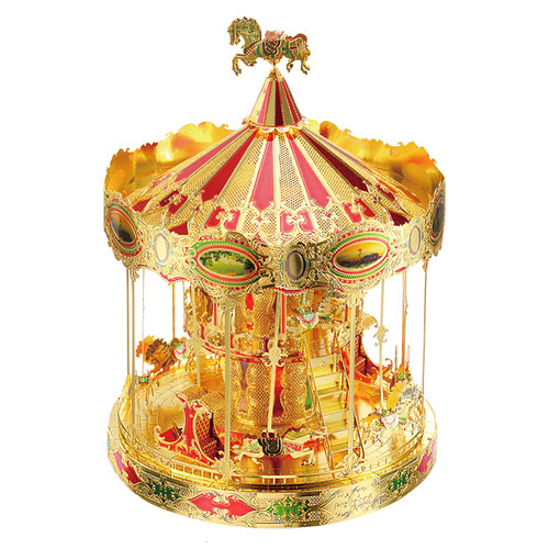 """Merry Go Round"" Carousel Gold Metal Model Kit 