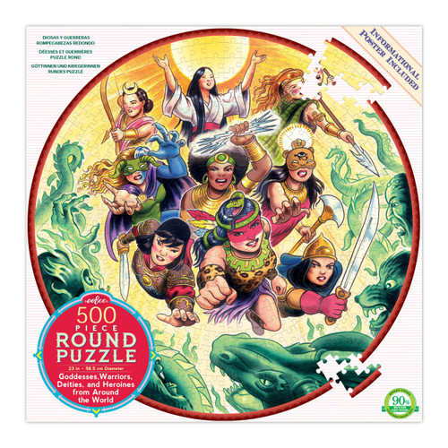 """Goddesses and Warriors"" 500 Piece Round Jigsaw Puzzle 