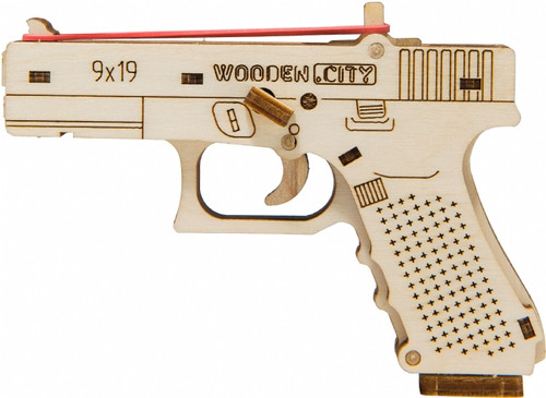 """The Guardian GLK-19"" Small Mechanical Wooden Model Rubber Band Gun Kit 