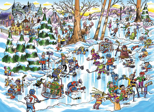 """DoodleTown: """"Hockey Town"""" 1000 Piece Jigsaw Puzzle 