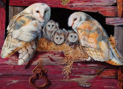 """Barn Owls"" 1000 Piece Jigsaw Puzzle | Cobble Hill"