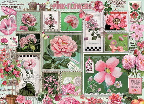 """Pink Flowers"" 1000 Piece Jigsaw Puzzle 