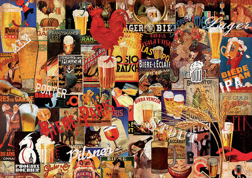 """Vintage Beer Collage"" 1000 Piece Jigsaw Puzzle 