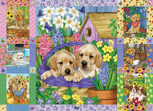 """""""Puppies and Posies Quilt"""" 1000 Piece Jigsaw Puzzle 