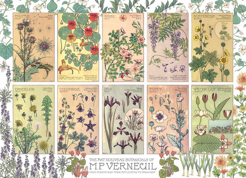 """Botanicals by Verneuil"" 1000 Piece Jigsaw Puzzle (Rainbow Collection) 